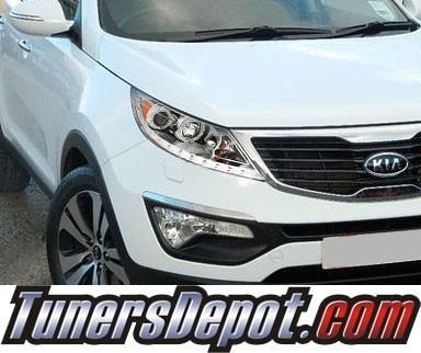 KS® DRL LED CCFL Halo Projector Headlights (Chrome) - 11-13 Kia Sportage
