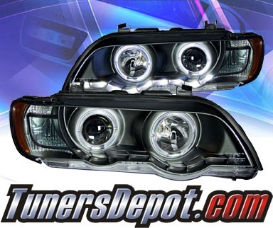 KS® DRL LED Halo Projector Headlights (Black) - 00-03 BMW X5 E53