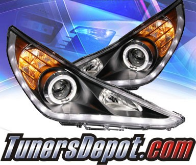 KS® DRL LED Halo Projector Headlights (Black) - 11-14 Hyundai Sonata