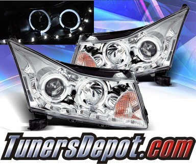 KS® DRL LED Halo Projector Headlights (Chrome) - 11-15 Chevy Cruze