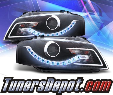 KS® DRL LED Projector Headlights (Black) - 06-08 Audi A3