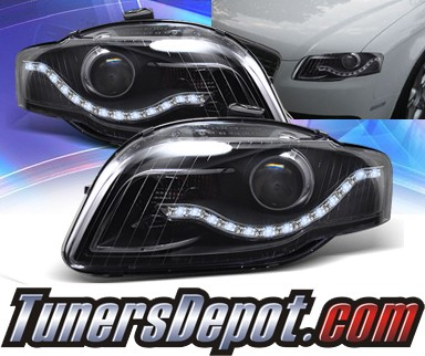 KS® DRL LED Projector Headlights (Black) - 06-08 Audi A4 (w/o Stock HID)