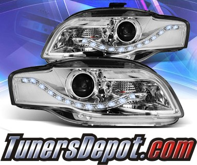 KS® DRL LED Projector Headlights (Chrome) - 06-08 Audi S4 (w/ OEM HID Only)