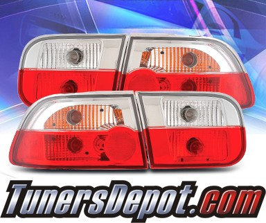 KS® Euro Tail Lights (Red/Clear) - 92-95 Honda Civic 2/4dr.