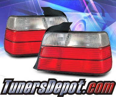 KS® Euro Tail Lights (Red/Clear) - 92-98 BMW 328i E36 4dr.