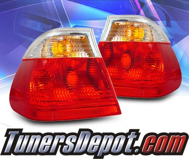 KS® Euro Tail Lights (Red/Clear) - 99-01 BMW 328i E46 4dr. (Outer Pieces Only)