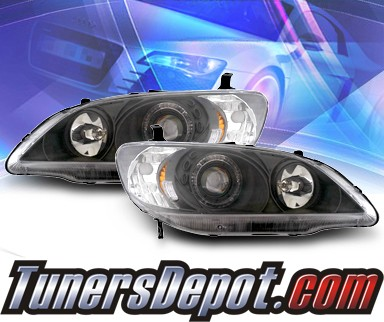 KS® Halo Projector Headlights (Black) - 04-05 Honda Civic 2/4dr.