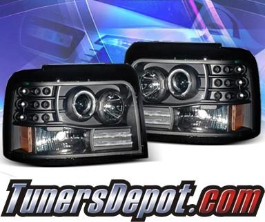 Ks Halo Projector Headlights Black 92 96 Ford F150 F 150 02 Az Ff92 Pbc R A