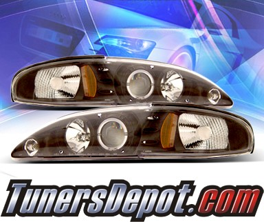 KS® Halo Projector Headlights (Black) - 94-98 Ford Mustang