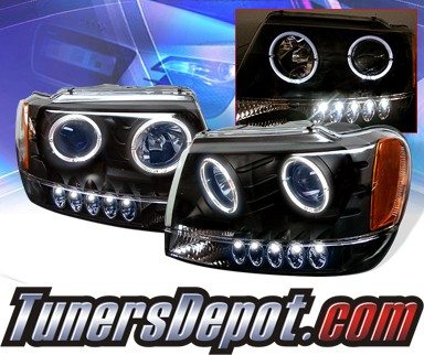 KS® Halo Projector Headlights (Black) - 99-04 Jeep Grand Cherokee