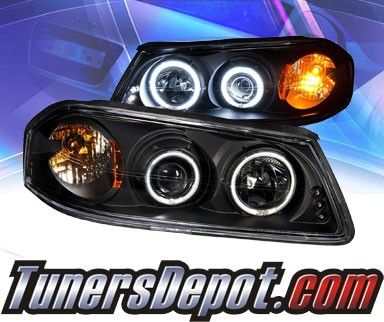KS® LED CCFL Halo Projector Headlights (Black) - 00-05 Chevy Impala