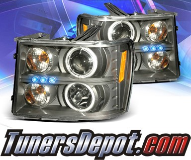 KS® LED CCFL Halo Projector Headlights (Black) - 07-12 GMC Sierra (Incl. Denali & Hybrid)