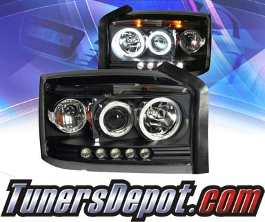 KS® LED Halo Projector Headlights (Black) - 05-08 Dodge Dakota