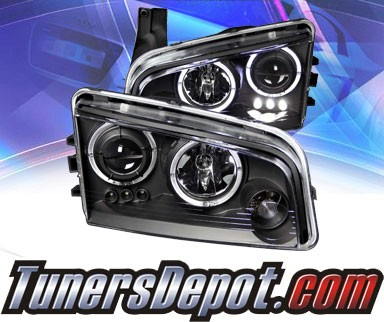 KS® LED Halo Projector Headlights (Black) - 06-10 Dodge Charger