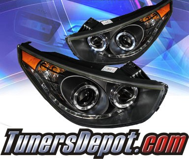 KS® LED Halo Projector Headlights (Black) - 10-12 Hyundai Tucson