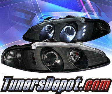 KS® LED Halo Projector Headlights (Black) - 95-96 Mitsubishi Eclipse
