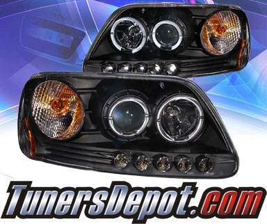 KS® LED Halo Projector Headlights (Black) - 97-03 Ford F150 F-150