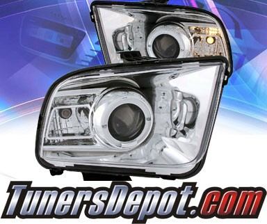 KS® LED Halo Projector Headlights (Chrome) - 05-09 Ford Mustang