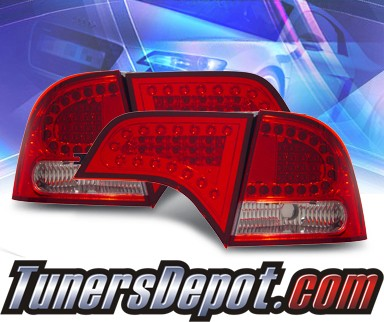 KS® LED Tail Lights (Red/Clear) - 06-10 Honda Civic 4dr.