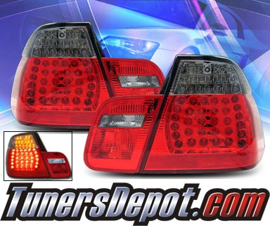 KS® LED Tail Lights (Red/Smoke) - 02-05 BMW 325i E46 4dr.