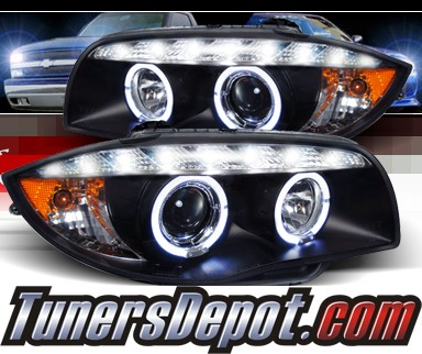 SPEC-D® DRL LED Projector Headlights (Black) - 08-12 BMW 128i E82/E88