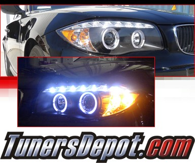 SPEC-D® DRL LED Projector Headlights (Black) - 08-12 BMW 135i E82/E88