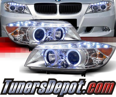 SPEC-D® DRL LED Projector Headlights (Chrome) - 07-08 BMW 328i 4dr E90/E91