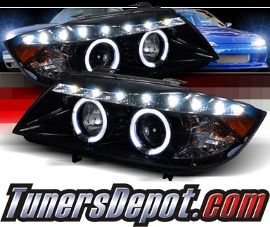 SPEC-D® DRL LED Projector Headlights (Glossy Black) - 06-08 BMW 323i 4dr E90