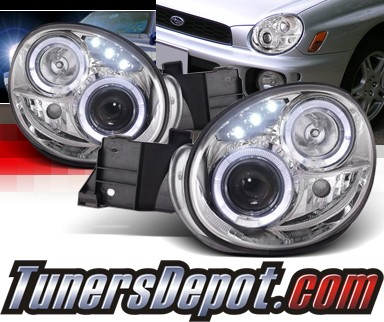 SPEC-D® Halo LED Projector Headlights - 02-03 Subaru Impreza (Incl. WRX/RS)