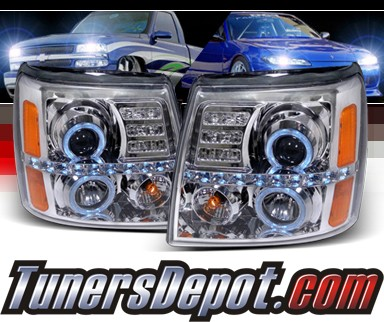 SPEC-D® Halo LED Projector Headlights - 02-06 Cadillac Escalade (w/o Stock HID)