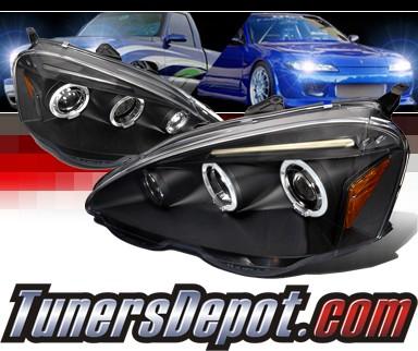 SPECD Halo LED Projector Headlights Black Acura RSX RSX - Acura rsx headlights