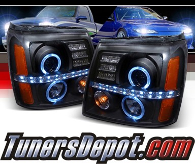 SPEC-D® Halo LED Projector Headlights (Black) - 02-06 Cadillac Escalade (w/o Stock HID)