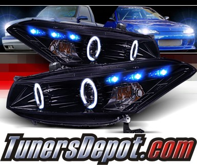 SPEC-D® Halo LED Projector Headlights (Black) - 08-12 Honda Accord 2dr