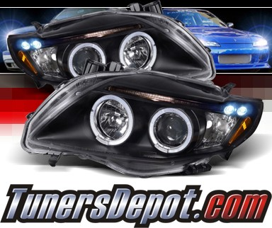 SPEC-D® Halo LED Projector Headlights (Black) - 09-10 Toyota Corolla