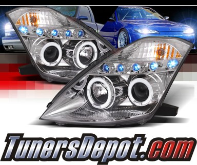 SPEC-D® Halo LED Projector Headlights (Chrome) - 03-05 Nissan 350Z (w/o Stock HID)