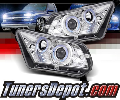 SPEC-D® Halo LED Projector Headlights (Chrome) - 10-12 Ford Mustang (w/o Stock HID)