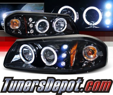 SPEC-D® Halo LED Projector Headlights (Glossy Black) - 00-05 Chevy Impala