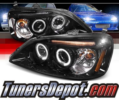 SPEC-D® Halo LED Projector Headlights (Glossy Black) - 01-03 Honda Civic