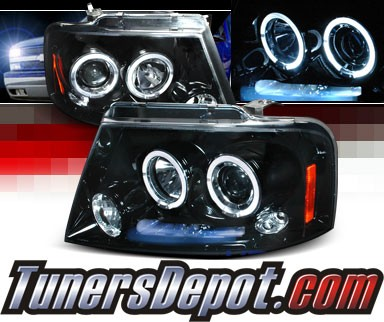 SPEC-D® Halo LED Projector Headlights (Glossy Black) - 04-08 Ford F150 F-150