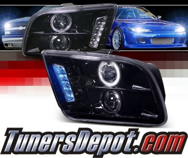 SPEC-D® Halo LED Projector Headlights (Glossy Black) - 05-09 Ford Mustang