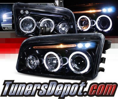 SPEC-D® Halo LED Projector Headlights (Glossy Black) - 05-10 Dodge Charger