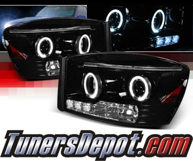 SPEC-D® Halo LED Projector Headlights (Glossy Black) - 06-08 Dodge Ram Pickup