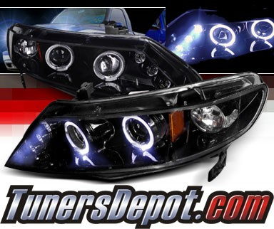 SPEC-D® Halo LED Projector Headlights (Glossy Black) - 06-11 Honda Civic 4dr