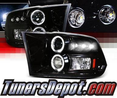 SPEC-D® Halo LED Projector Headlights (Glossy Black) - 09-12 Dodge Ram Pickup