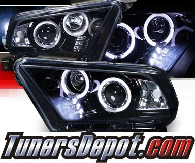 SPEC-D® Halo LED Projector Headlights (Glossy Black) - 10-13 Ford Mustang