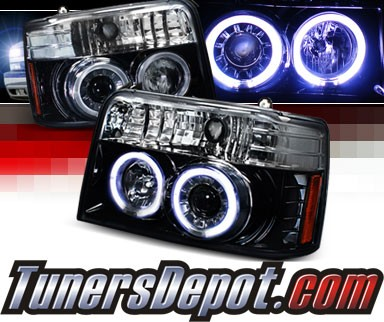SPEC-D® Halo LED Projector Headlights (Glossy Black) - 92-96 Ford F150 F-150