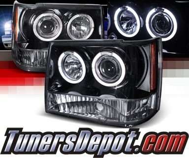 SPEC-D® Halo LED Projector Headlights (Glossy Black) - 93-98 Jeep Grand Cherokee