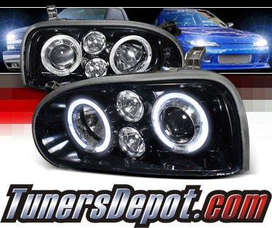 SPEC-D® Halo LED Projector Headlights (Glossy Black) - 93-98 VW Volkswagen Golf