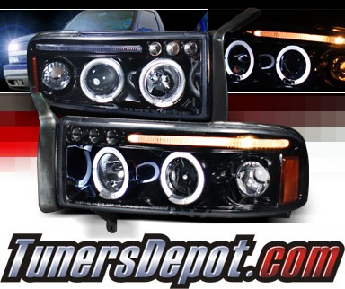 SPEC-D® Halo LED Projector Headlights (Glossy Black) - 94-01 Dodge Ram 2500 / 3500 Pickup