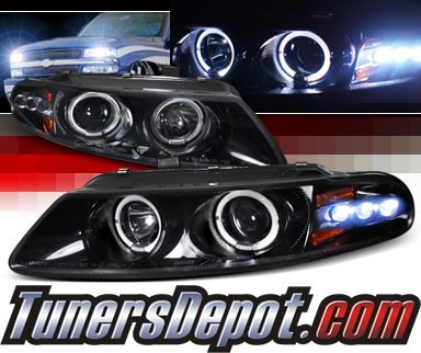 SPEC-D® Halo LED Projector Headlights (Glossy Black) - 97-00 Dodge Avenger